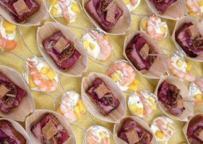 toast foie gras - cuillère ecrevisse mangue